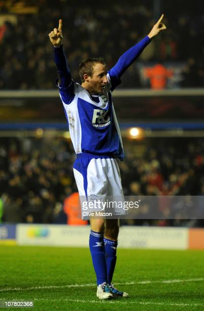 Lee Bowyer of Birmingham City celebrates scoring an equalising goal during the Barclays Premier League match between Birmingham City and Manchester...