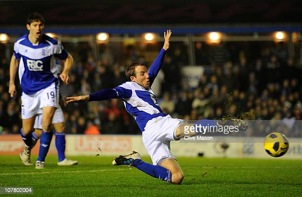 Lee Bowyer of Birmingham City scores an equalising goal during the Barclays Premier League match between Birmingham City and Manchester United at St...
