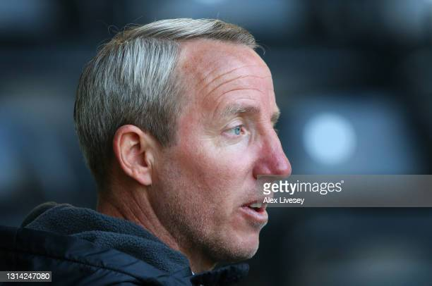 Lee Bowyer the manager of Birmingham City looks on after the Sky Bet Championship match between Derby County and Birmingham City at Pride Park...