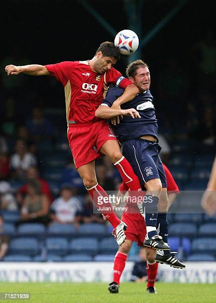 Lee Bradbury of Southend battles with Dejan Stefanovic of Portsmouth during the pre-season friendly match between Southend United and Portsmouth at...