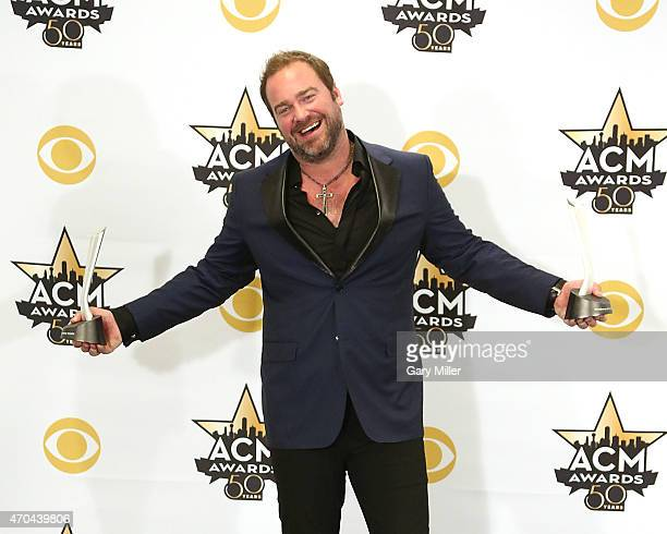 Lee Brice poses in the press room at the 50th Academy of Country Music Awards at ATT Stadium on April 19 2015 in Arlington Texas
