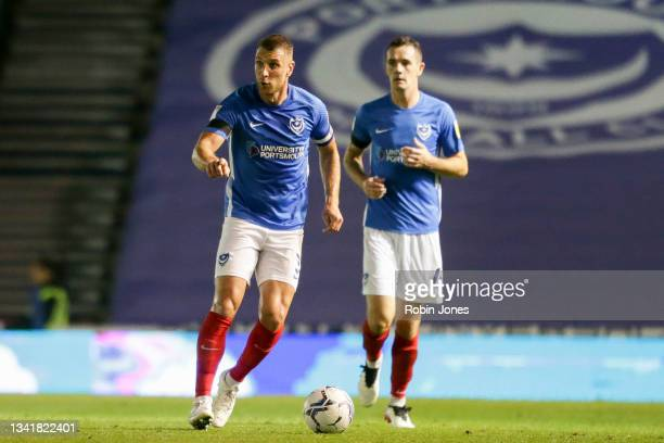 Lee Brown of Portsmouth FC during the Sky Bet League One match between Portsmouth and Plymouth Argyle at Fratton Park on September 21, 2021 in...