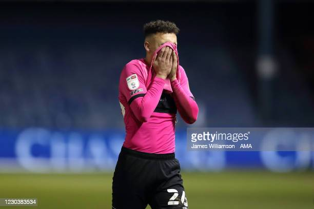 Lee Buchanan of Derby County dejected at full time of the Sky Bet Championship match between Sheffield Wednesday and Derby County at Hillsborough...