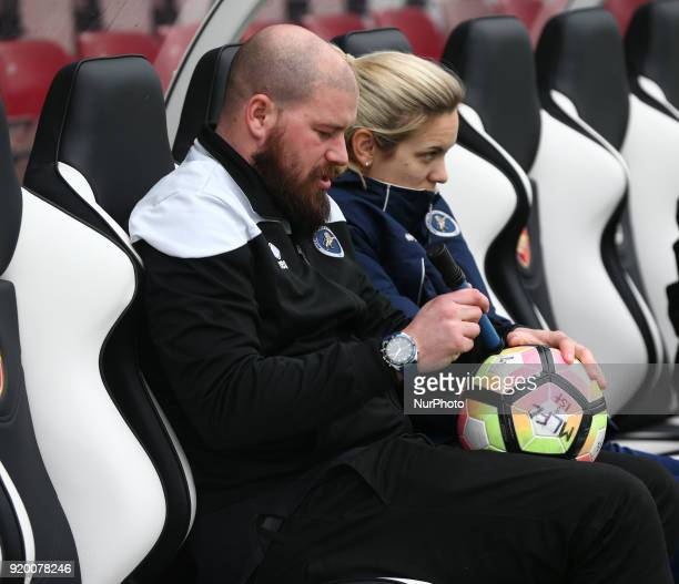 Lee Burch manager of Millwall Lionesses LFC during The FA Women's Cup Fifth Round match between Arsenal against Millwall Lionesses at Meadow Park...