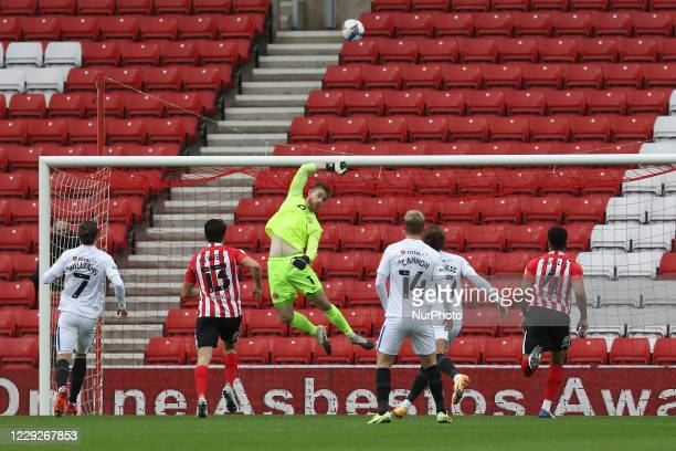 Lee Burge of Sunderland pulls of a save during the Sky Bet League 1 match between Sunderland and Portsmouth at the Stadium Of Light Sunderland on...