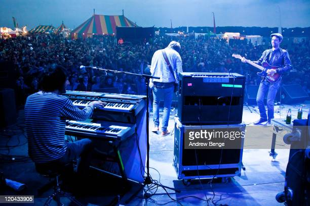Lee Burgess Lucas Crowther and Joel Stocker of The Rifles perform on stage during the first day of YNot Festival 2011 on August 5 2011 in Matlock...