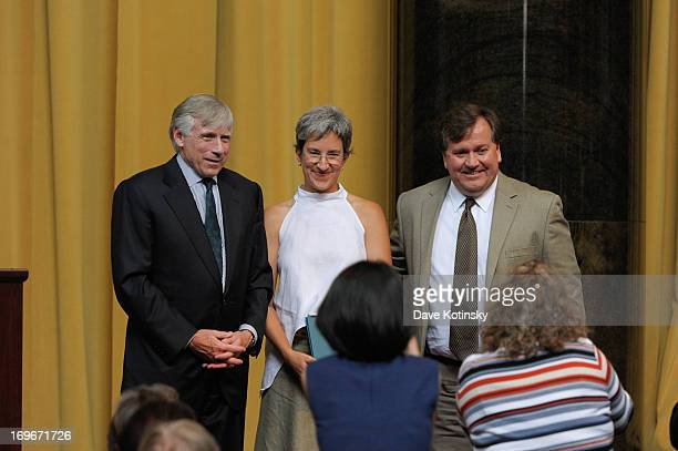 Lee C Bollinger presents an award to David Barstow and Alejandra Xanic Von Bertrab at the 7th Annual Pulitzer Prizes in Journalism Letters Drama and...
