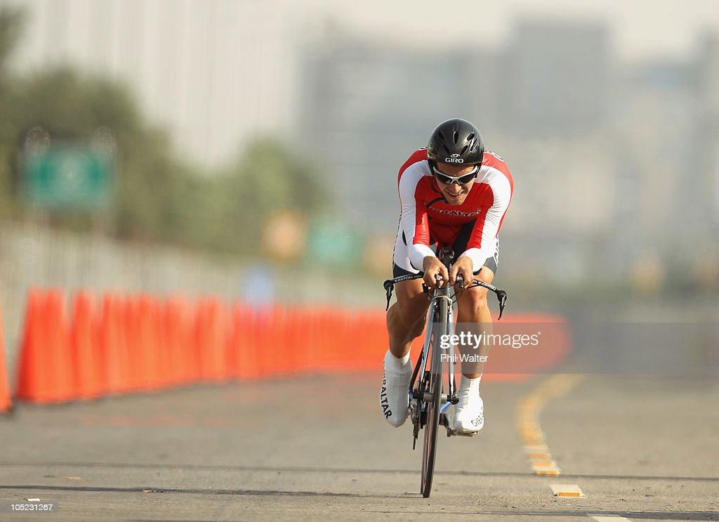 Lee Calderson of Gilbraltar competes in the Individual Time Trial during day ten of the Delhi 2010 Commonwealth Games on October 13, 2010 in Delhi, India.