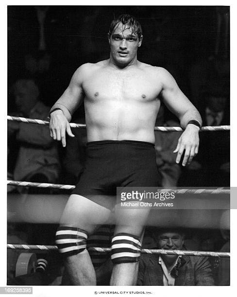 Lee Canalito on the ropes in a scene from the film 'Paradise Alley' 1978