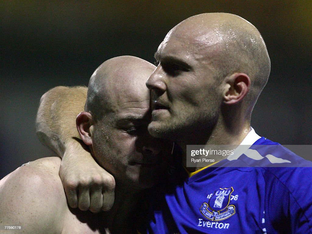 Lee Carsley (L) and Thomas Gravesen (R) of Everton celebrate after the Carling Cup Fourth Round match between Luton Town and Everton at Kenilworth Road on October 31, 2007 in Luton, United Kingdom.