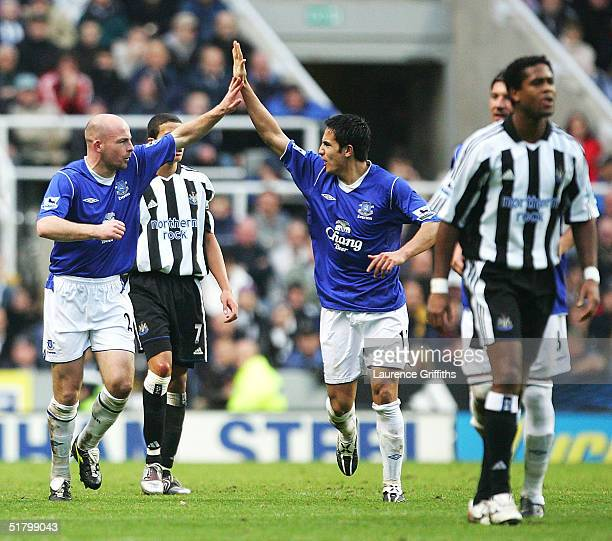 Lee Carsley of Everton celebrates with Tim Cahill after scoring the equalising goal during the FA Barclays Premiership match between Newcastle United...