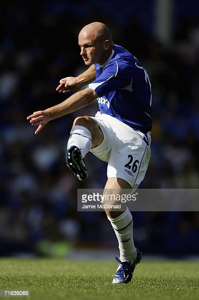 Lee Carsley of Everton in action during the preseason friendly match between Everton and Athletic Bilbao at Goodison Park on August 12 2006 in...