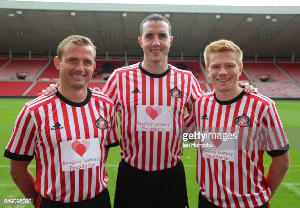 Lee Cattermole John O'Shea and Duncan Watmore displaying the Bradley Lowery Foundation shirts to worn in the up coming Carabao cup match on September...