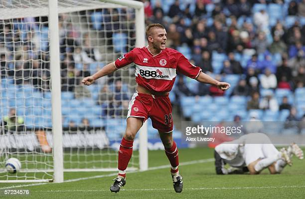 Lee Cattermole of Middlesbrough celebrates after scoring the opening goal during the Barclays Premiership match between Manchester City and...