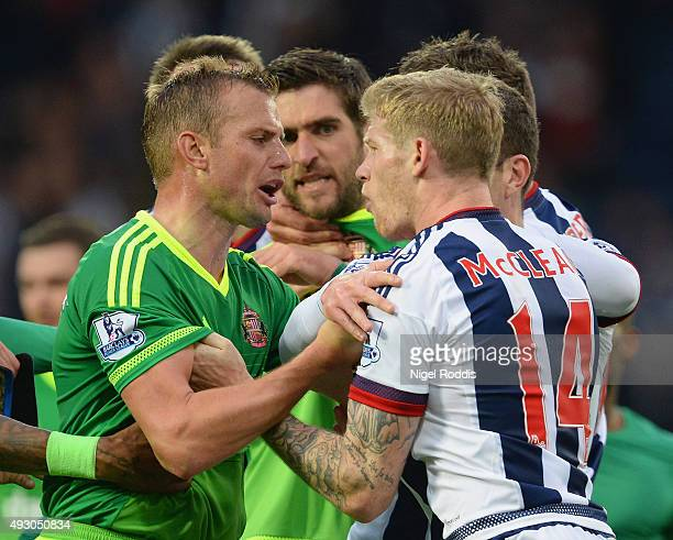 Lee Cattermole of Sunderland and James McClean of West Bromwich Albion argue during the Barclays Premier League match between West Bromwich Albion...