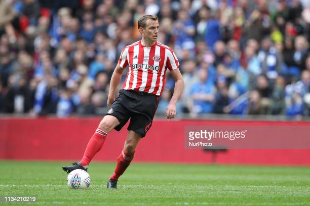 Lee Cattermole of Sunderland during the Checkatrade Trophy Final between Portsmouth and Sunderland at Wembley Stadium London on Sunday 31st March 2019