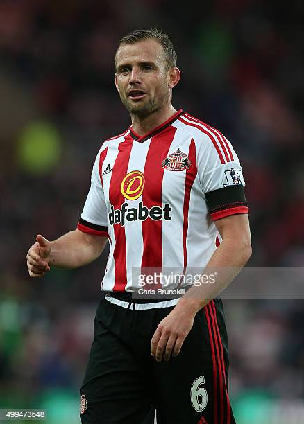 Lee Cattermole of Sunderland looks on during the Barclays Premier League match between Sunderland and Stoke City at Stadium of Light on November 28...