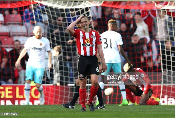 Lee Cattermole of Sunderland reacts during the Premier League match between Sunderland and West Ham United at Stadium of Light on April 15 2017 in...