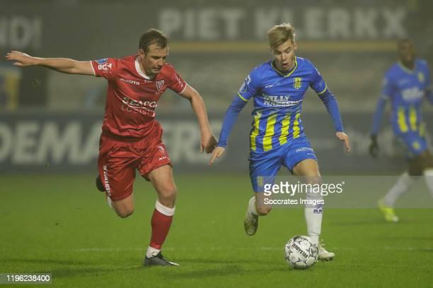 Lee Cattermole of VVV Venlo Emil Hansson of RKC Waalwijk during the Dutch Eredivisie match between RKC Waalwijk v VVVVenlo at the Mandemakers Stadium...