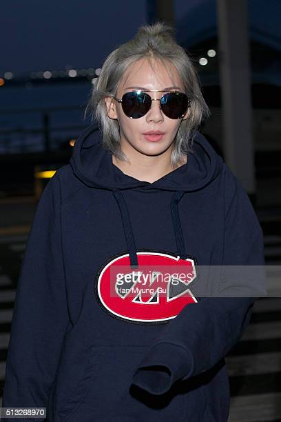 Lee ChaeRin of South Korean girl group 2NE1 is seen on departure at Incheon International Airport on February 27 2016 in Incheon South Korea