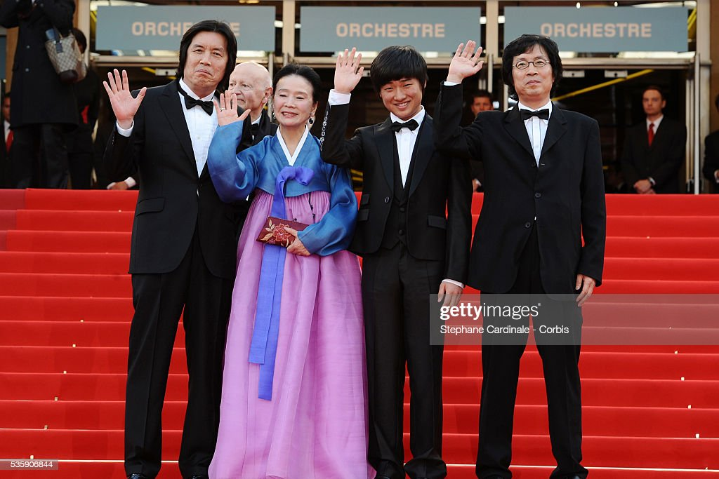 Lee Changdong, Lee David, Yun Junghee and Lee Joondong at the Premiere for 'Poetry' during the 63rd Cannes International Film Festival
