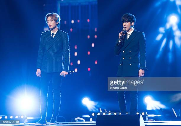 Lee Chanhee and Ahn Daniel of Teen Pop perform at the 2015 KPop Festival at Prudential Center on August 8 2015 in Newark New Jersey