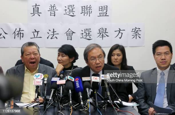 Lee Cheuk-yan; Claudia Mo Man-ching; Joseph Cheng Yu-shek; Erica Yuen Mi-ming and Gary Fan Kwok-wai of Alliance for True Democracy meet the media at...