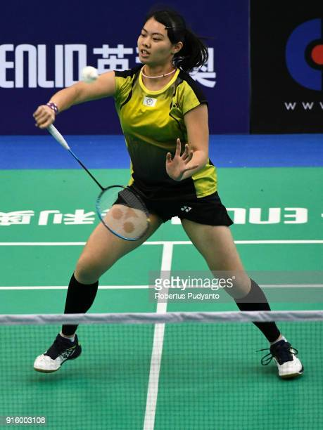 Lee Chia Hsin of Chinese Taipei competes against Nozomi Okuhara of Japan during Women's Team Quarterfinal match of the EPlus Badminton Asia Team...