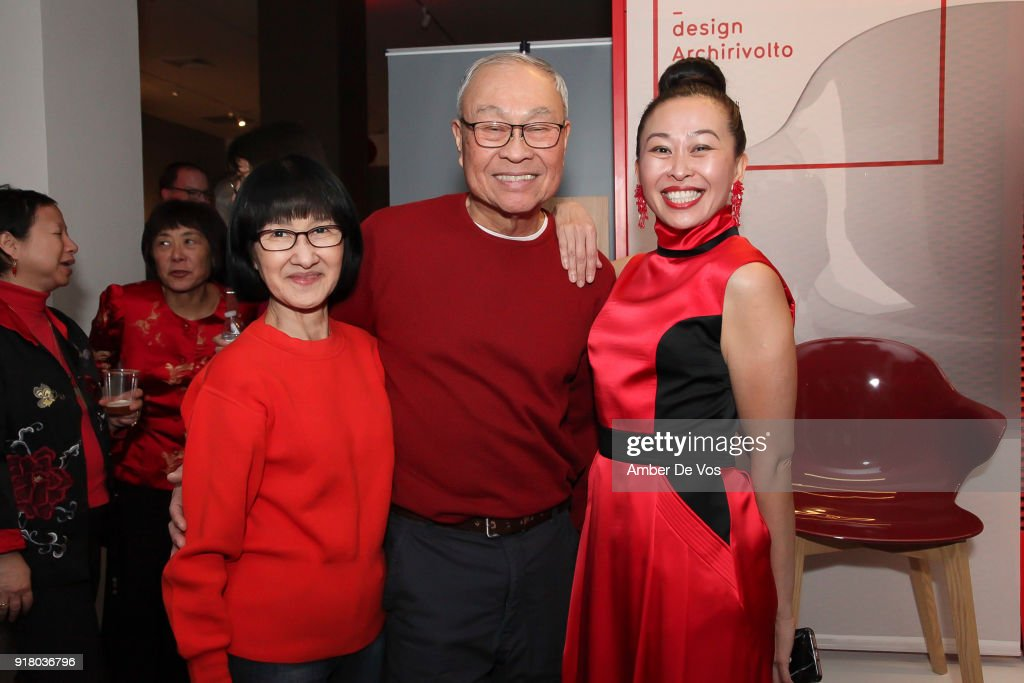 Lee, Chong and Niki Cheng attend New York Chinese New Year Celebration at Calligaris SoHo on February 13, 2018 in New York City.
