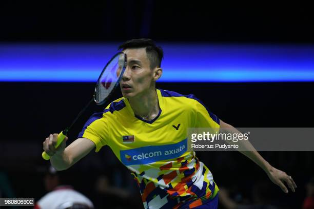 Lee Chong Wei of Malaysia competes against Vladimir Malkov of Russia during Preliminary Round on day two of the BWF Thomas Uber Cup at Impact Arena...