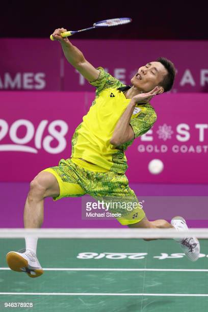 Lee Chong Wei of Malaysia competes during the men's singles final match against Srikanth Kidambi of India during Badminton on day 11 of the Gold...