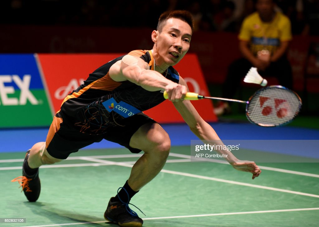 Lee Chong Wei Of Malaysia Hits A Return Against Viktor Axelsen Of Denmark During The Mens