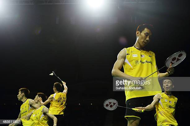 Lee Chong Wei of Malaysia in action during the 2014 Singapore Open men's single round 1 match at Singapore Indoor Stadium on April 9 2014 in Singapore