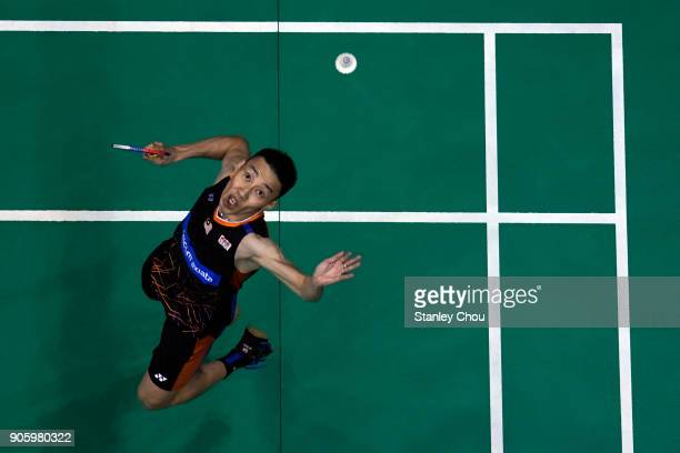 Lee Chong Wei of Malaysia in action with Kenta Nishimoto of Japan during the Men Singles round one match of the Perodua Malaysia Masters 2018 on...