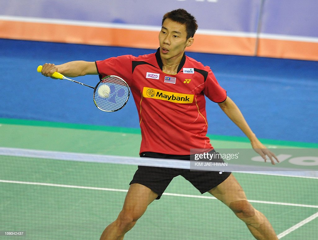 Lee Chong Wei of Malaysia plays a shot during his men's singles badminton match against Wong Wing Ki of Hong Kong during the semi-finals of the Korea Open at Seoul on January 12, 2013. Lee Chong Wei won the match 21-11, 21-18.