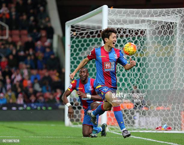 Lee ChungYong of Crystal Palace celebrates after scoring a goal to make it 12 during the Barclays Premier League match between Stoke City and Crystal...