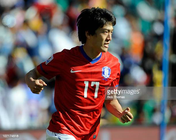 Lee ChungYong of South Korea celebrates his goal during the 2010 FIFA World Cup South Africa Group B match between Argentina and South Korea at...