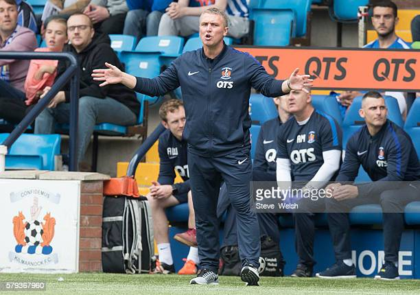 Lee Clark Manager of Kilmarnock during the Betfred Cup First Round between Kilmarnock Football Club and Morton at Rugby Park on July 23 2016 in...