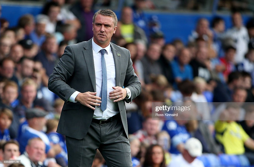 Lee Clark the manager of Birmingham during the Sky Bet Championship match between Birmingham City and Leeds United at St Andrews (stadium) on September 13, 2014 in Birmingham, England.