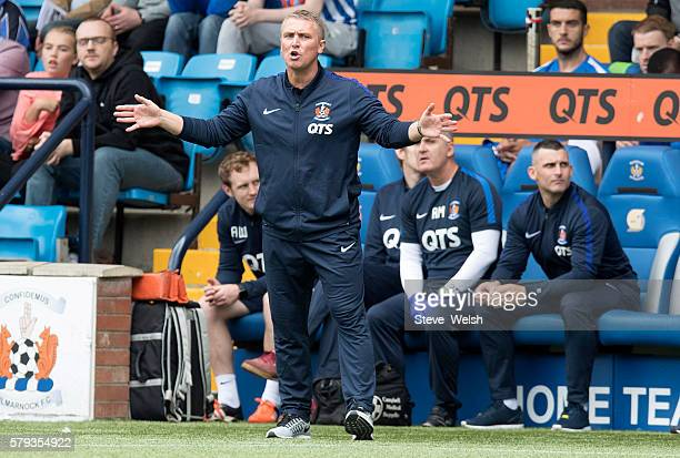 Lee Clarke Manager of Kilmarnock shouts from the dug out during the Betfred Cup First Round between Kilmarnock Football Club and Morton at Rugby Park...
