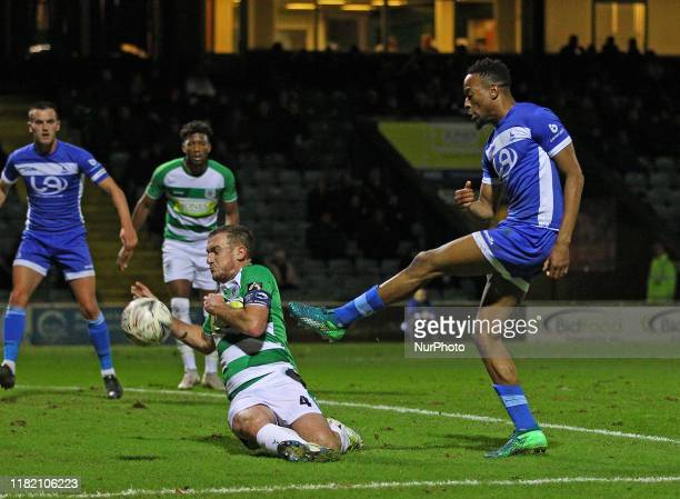 Lee Collins blocks an effort from Nickie Kabamba during the FA Cup match between Yeovil Town and Hartlepool United at Huish Park, Yeovil on Tuesday...