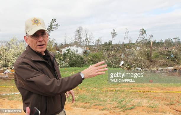 Lee County Sheriff Jay Jones describes where the tornado struck in Beauregard Alabama on March 4 2019 Rescuers in Alabama resumed search operations...