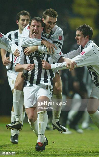 Lee Crooks of Notts County celebrates with team mates during the Coca Cola League Two match between Notts County and Northampton Town at Meadow Lane...