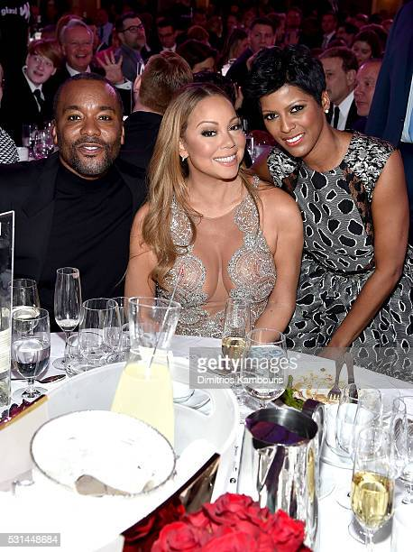 Lee Daniels Mariah Carey and Tamron Hall pose at the 27th Annual GLAAD Media Awards in New York on May 14 2016 in New York City