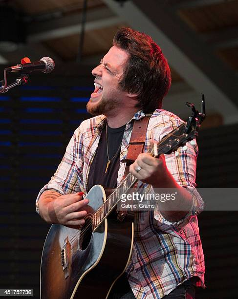 Lee DeWyze performs at RiverEdge Park on July 5 2014 in Aurora Illinois