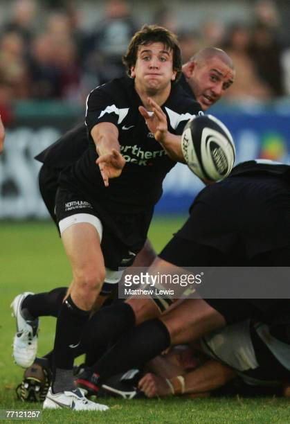 Lee Dickson of Newcastle Falcons in action during the Guinness Premiership match between Newcastle Falcons and Harlequins at Kingston Park on...