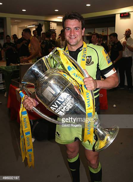 Lee Dickson of Northampton celebrates after their victory during the Aviva Premiership Final between Saracens and Northampton Saints at Twickenham...