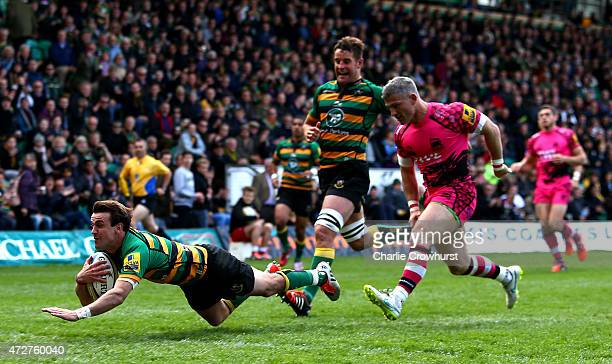 Lee Dickson of Northampton goes over to score a try during the Aviva Premiership match between Northampton Saints and London Welsh at Franklin's...