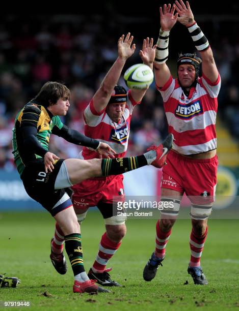 Lee Dickson of Northampton kicks the ball from the scrum during the LV Anglo Welsh Cup Final between Gloucester and Northampton Saints at Sixways...