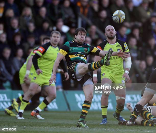 Lee Dickson of Northampton kicks the ball upfield during the Aviva Premiership match between Northampton Saints and Leicester Tigers at Franklin's...